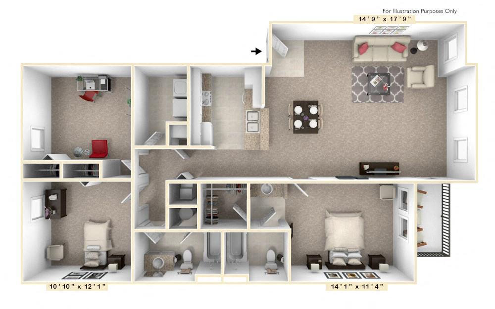 The Republic - 3 BR 2 BA floor plan, top view
