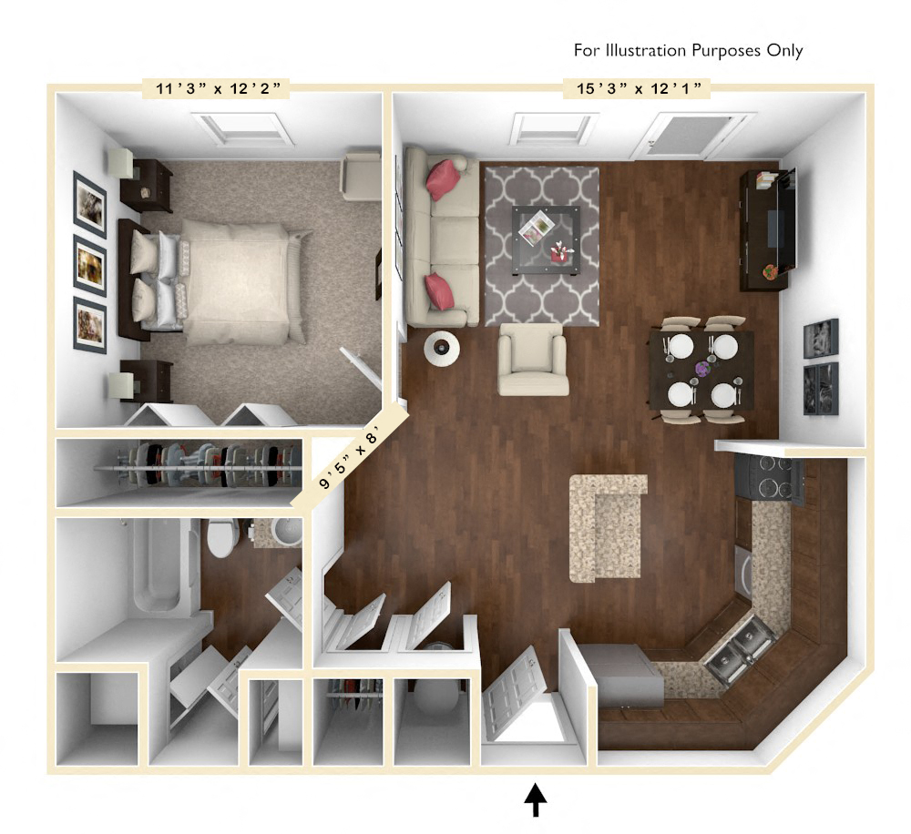 The Senator - 1 BR 1 BA floor plan, top view