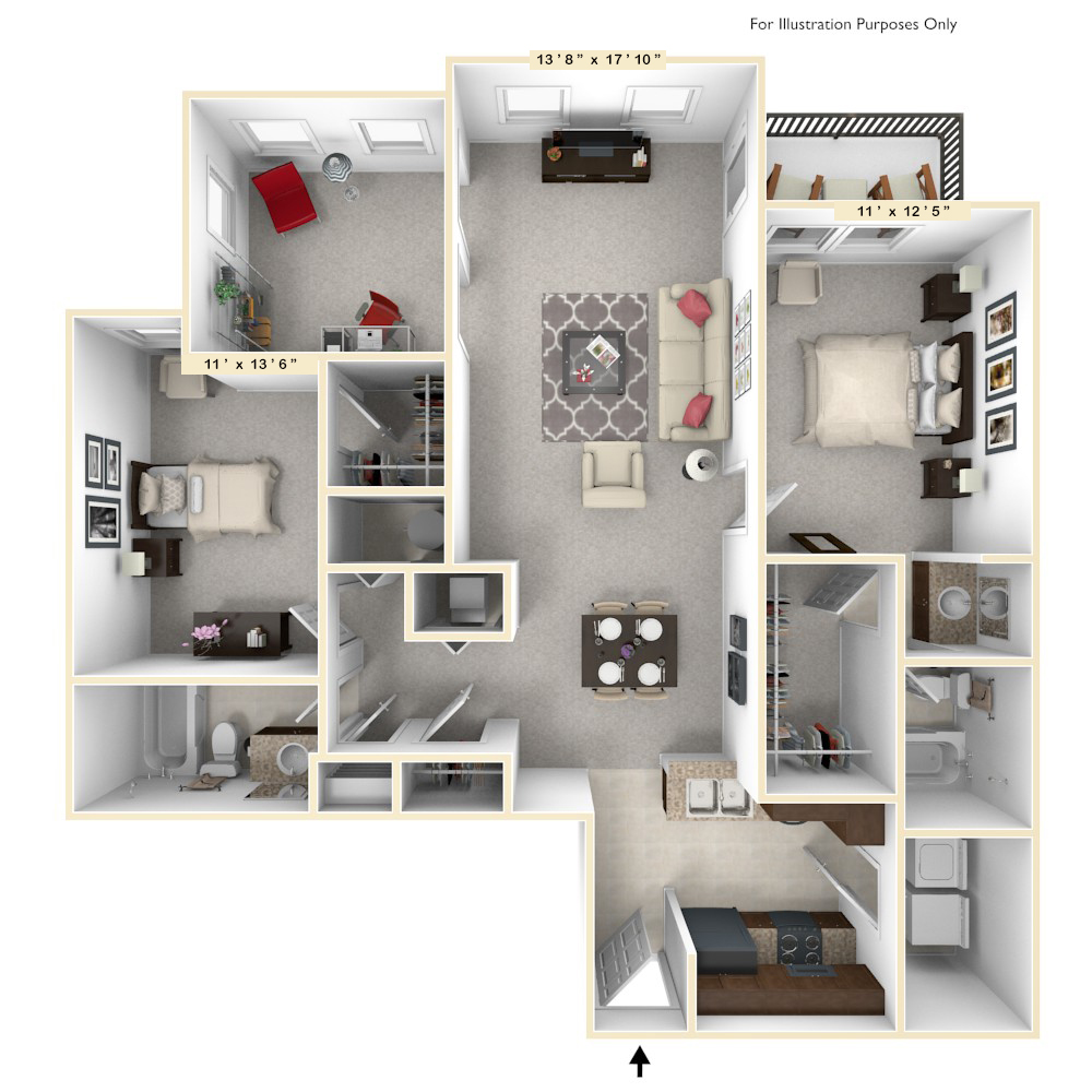 The Union - 2 BR 2 BA floor plan, top view