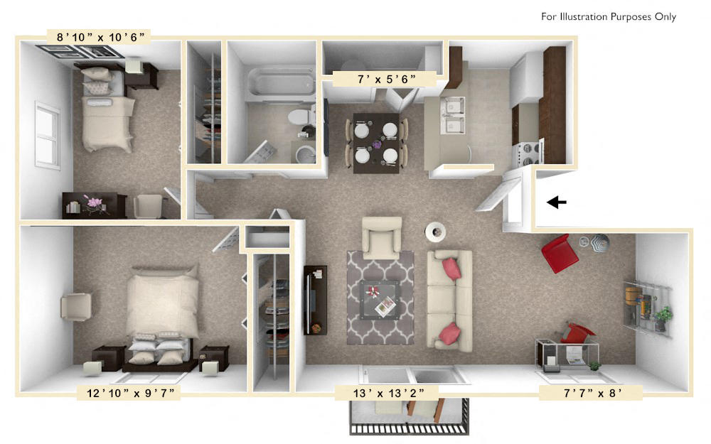 The Evergreen - 2 BR 1 BA with Den floor plan, top view
