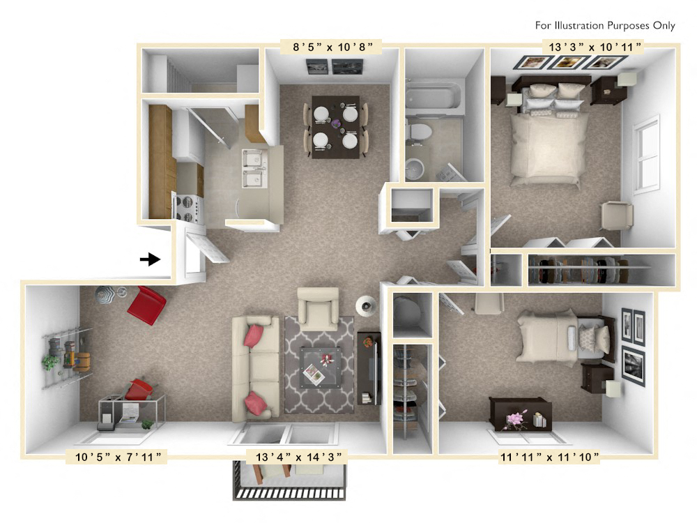 The Hawthorne - 2 BR 1 BA with Den floor plan, top view