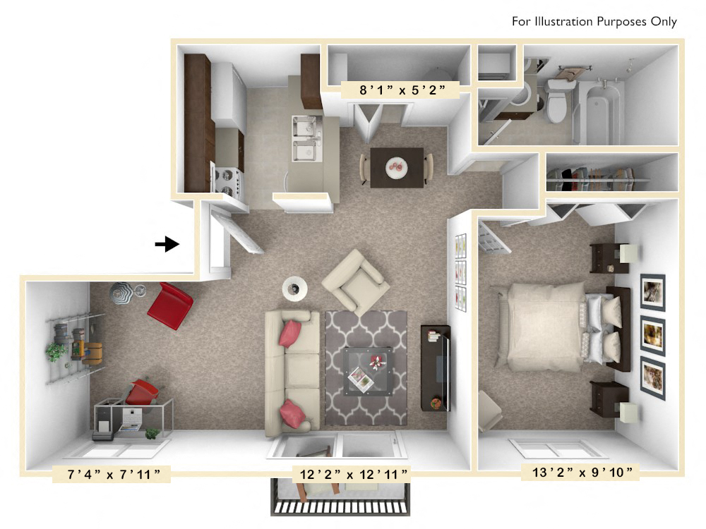 The Maple - 1 BR 1 BA with Den floor plan, top view