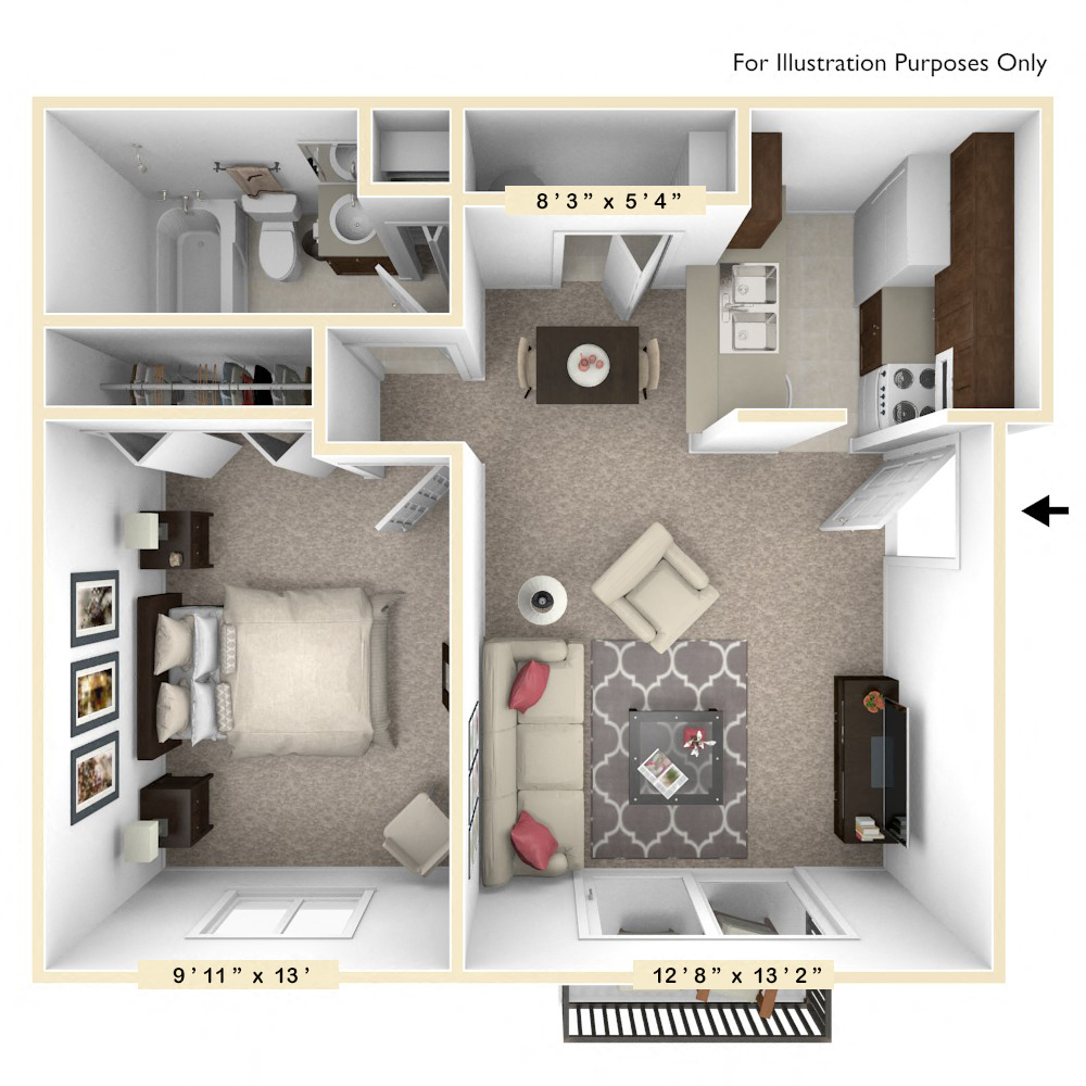 The Oak - 1 BR 1 BA floor plan, top view