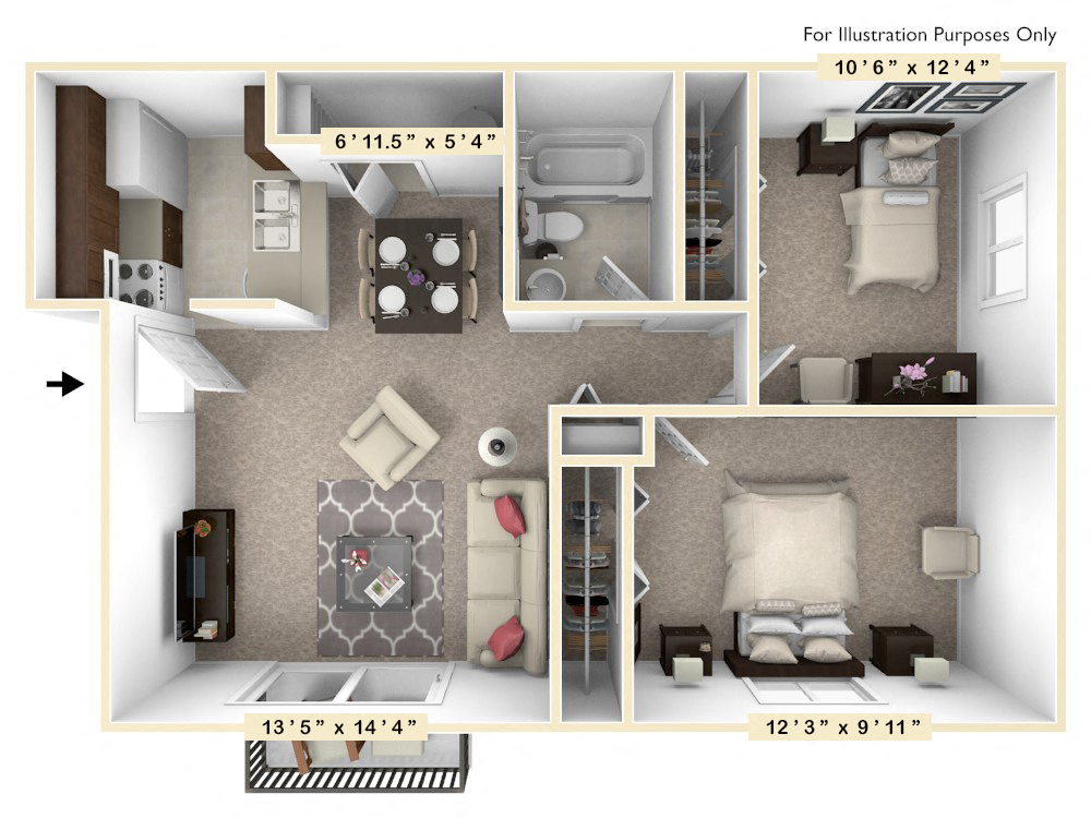 The Poplar - 2 BR 1 BA floor plan, top view