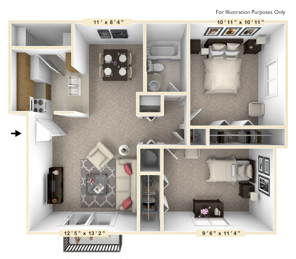 The Spruce - 2 BR 1 BA floor plan, top view