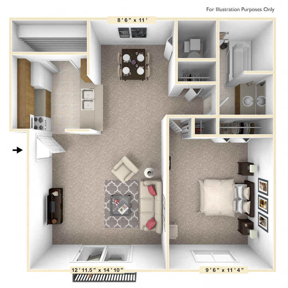 The Sycamore - 1 BR 1 BA floor plan, top view