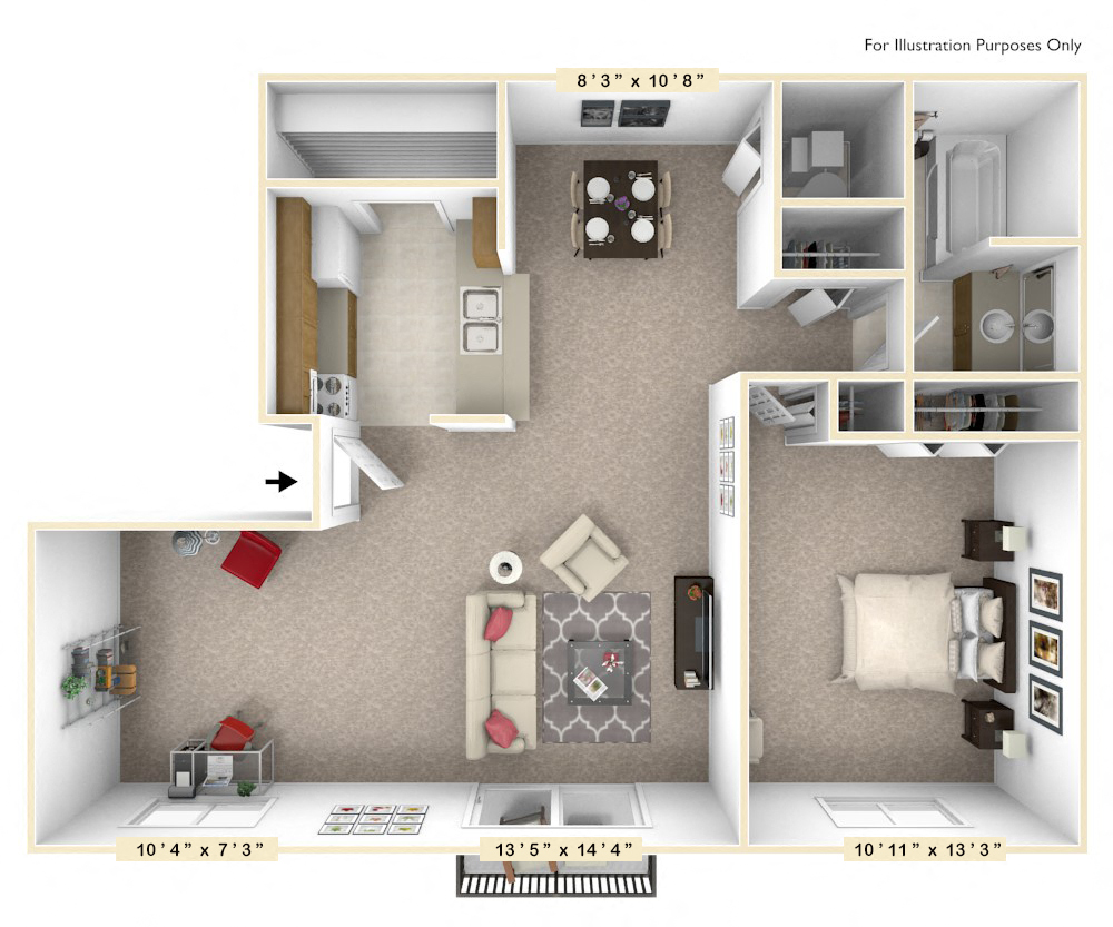 The Willow - 1 BR 1 BA with Den floor plan, top view