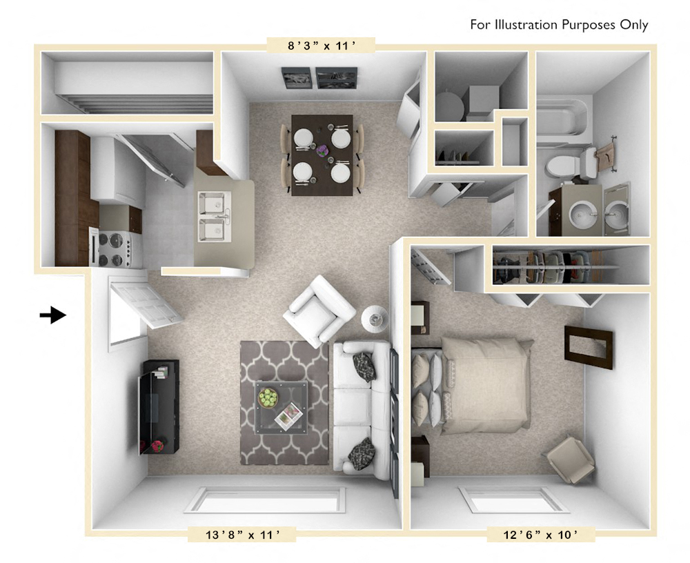 The Cape - 1 BR 1 BA floor plan, top view
