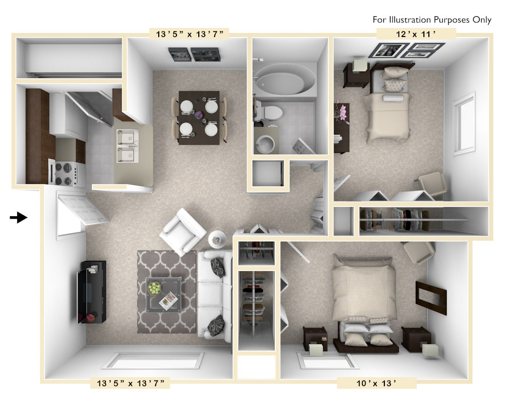 The Cove - 2 BR 1 BA floor plan, top view