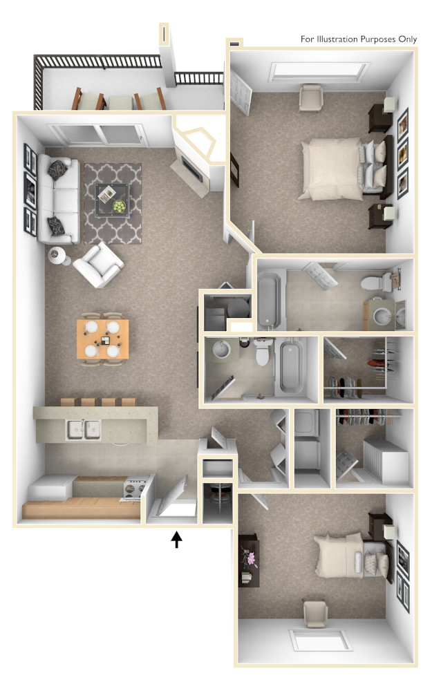 The Canvas Back - 2 BR 2 BA floor plan, top view