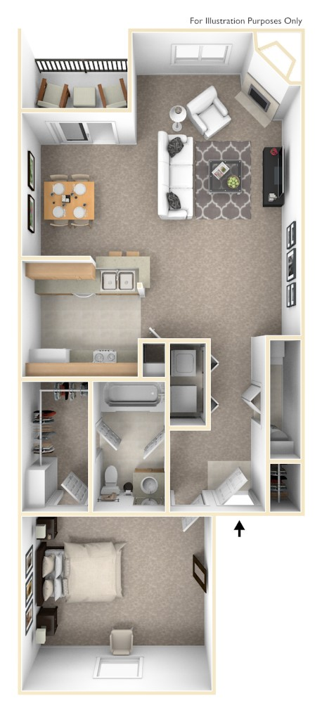 The Drake - 1 BR 1 BA floor plan, top view