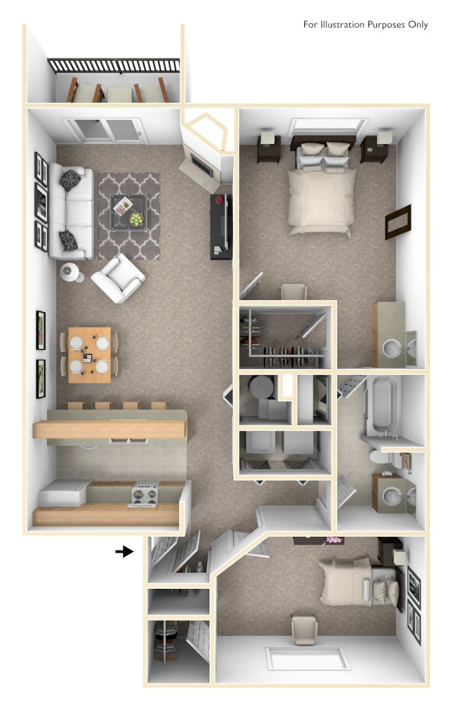 The Shoreline - 2 BR 1 BA floor plan, top view
