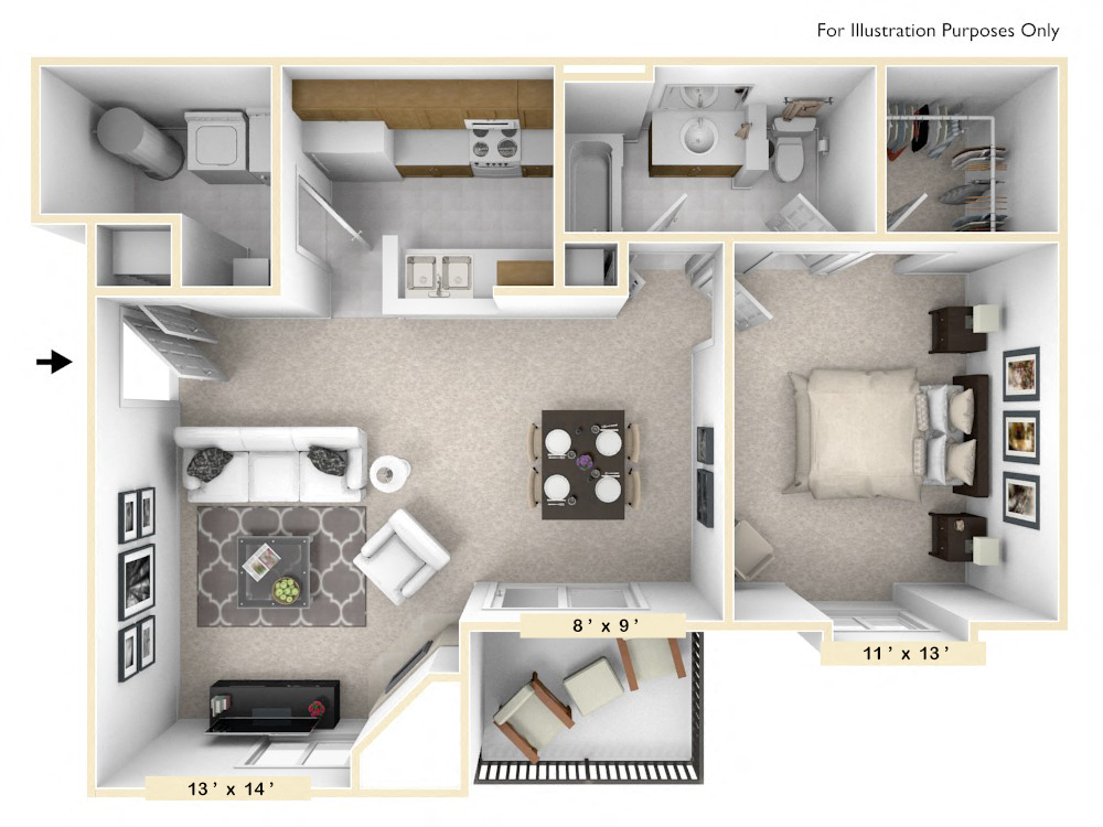 The Amherst - 1 BR 1 BA floor plan, top view