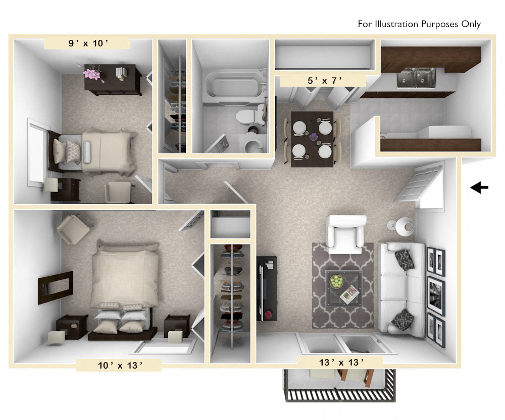 The Dove - 2 BR 1 BA floor plan, top view