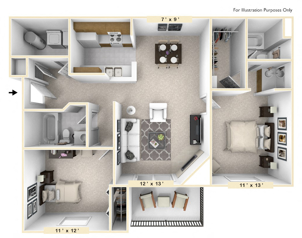 The Golden - 2 BR 2 BA floor plan, top view