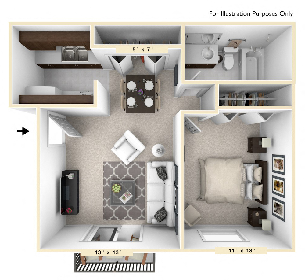 The Pheasant - 1 BR 1 BA floor plan, top view