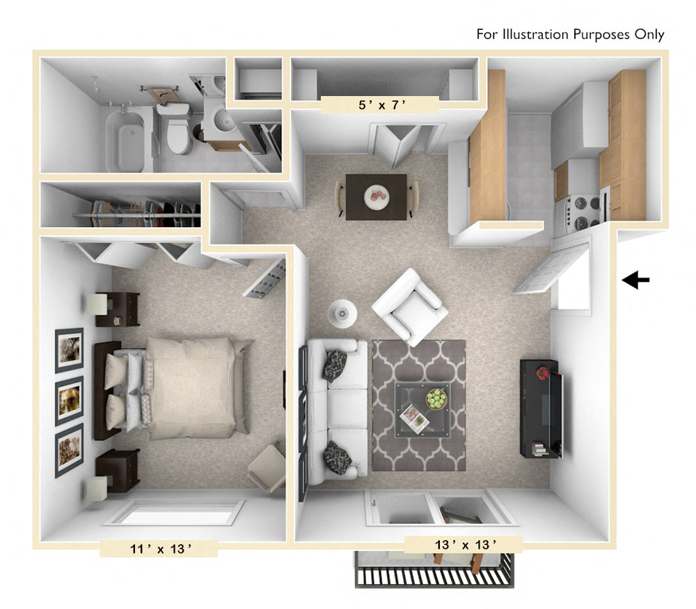 The Quail Run - 1 BR 1 BA floor plan, top view