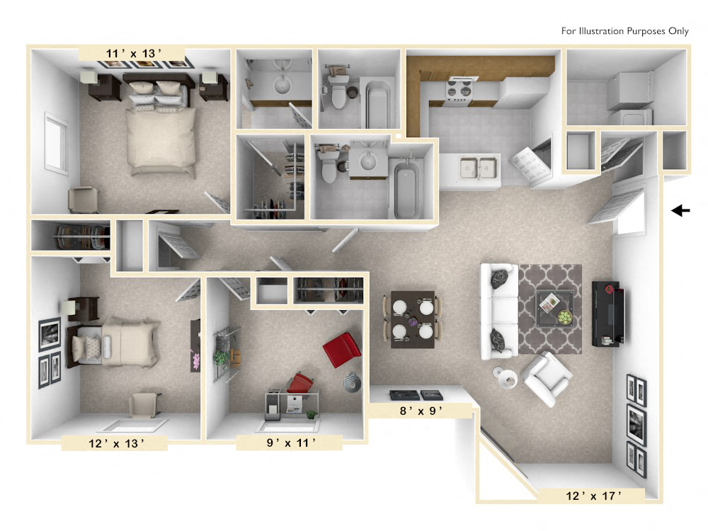 The Retreat - 3 BR 2 BA floor plan, top view