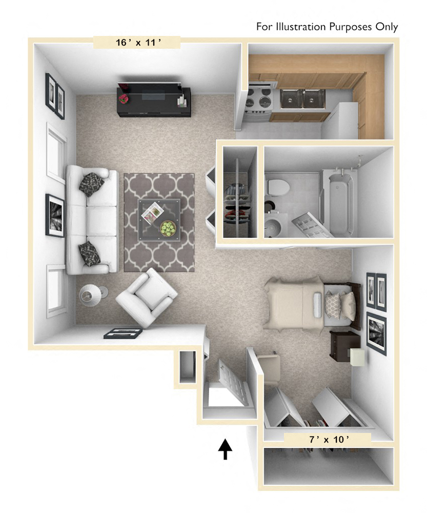 The Retriever Studio floor plan, top view