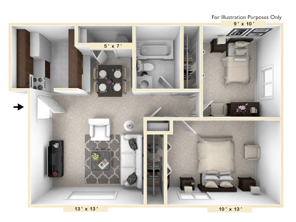 The Sportsman - 2 BR 1 BA floor plan, top view