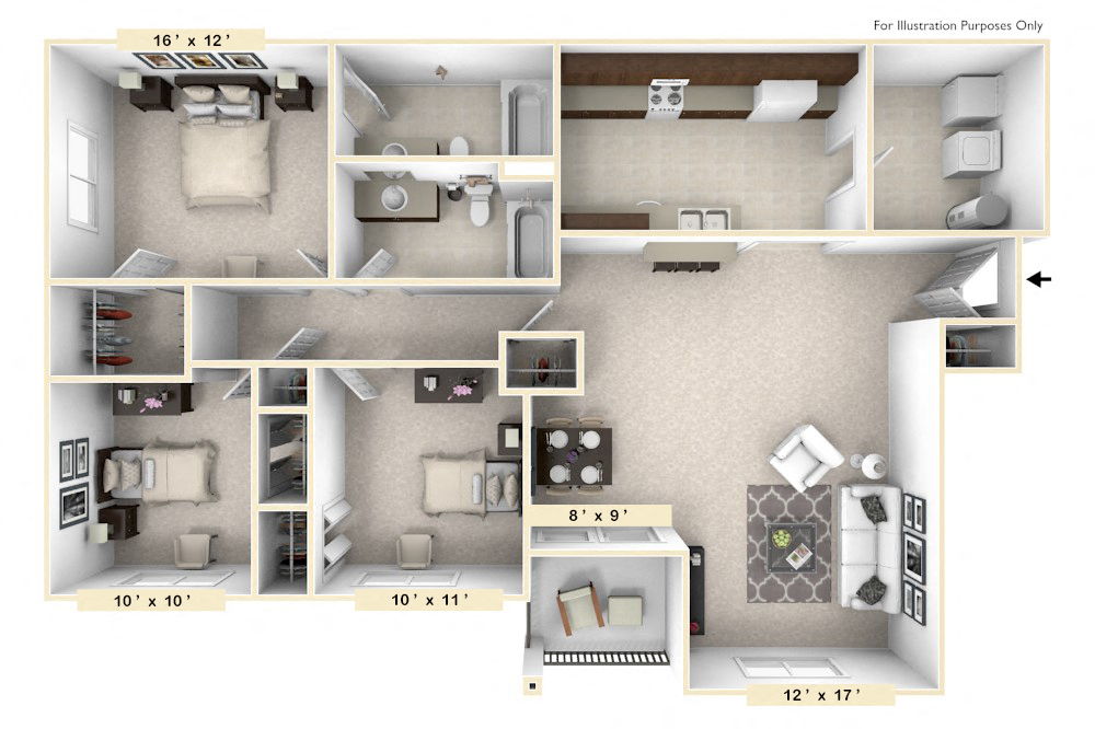 The Belgian - 3 BR 2 BA floor plan, top view