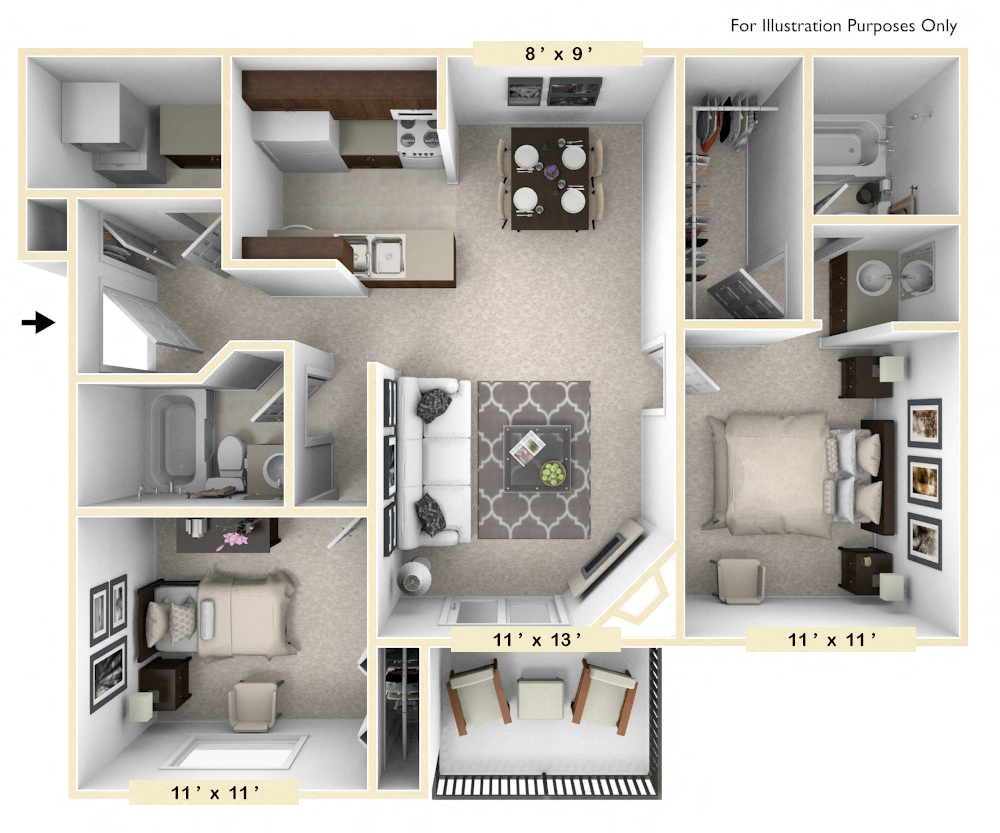 The Clydesdale - 2 BR 2 BA floor plan, top view