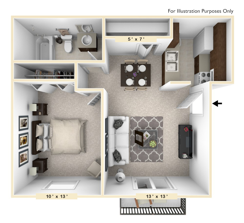 The Morgan - 1 BR 1 BA floor plan, top view