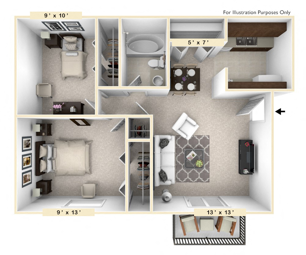 The Pinto - 2 BR 1 BA floor plan, top view