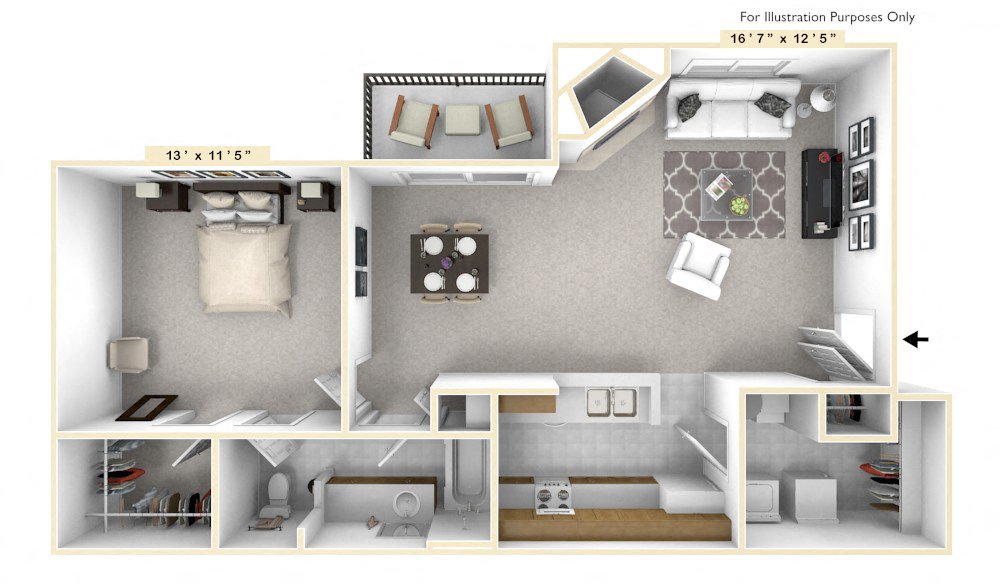 The Spirit - 1 BR 1 BA floor plan, top view