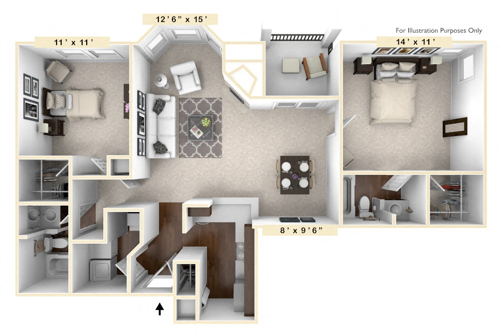 The Champion - 2 BR 2 BA floor plan, top view
