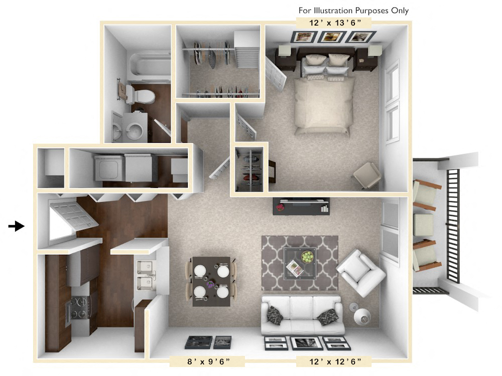 The Filly - 1 BR 1 BA floor plan, top view