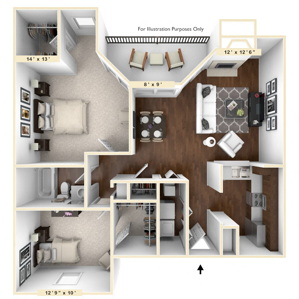 The Thoroughbred - 2 BR 1 BA floor plan, top view
