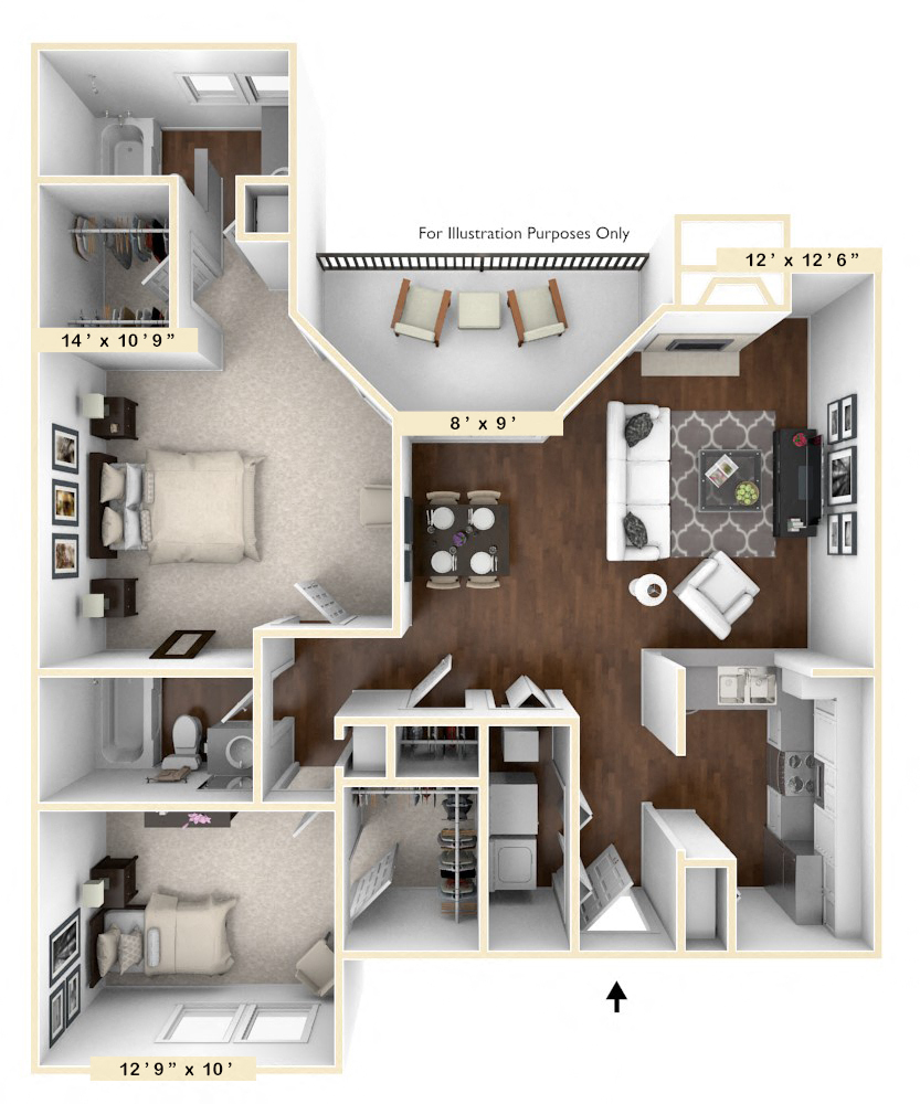 Triple Crown - 2 BR 2 BA floor plan, top view