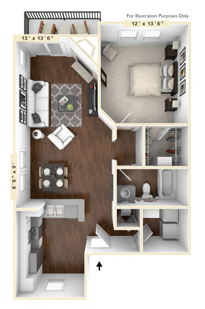 The Trophy - 1 BR 1 BA floor plan, top view