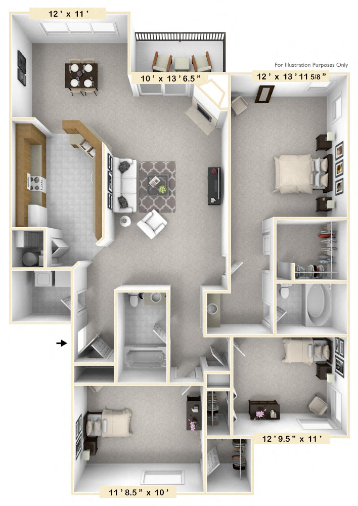 The Admiral - 3 BR 2 BA floor plan, top view