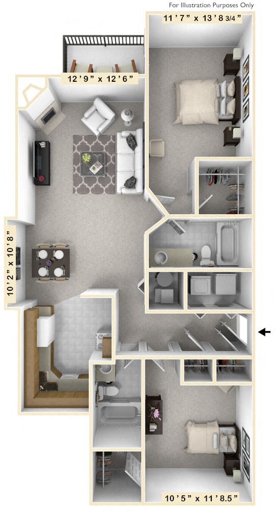 The Captain's Quarters - 2 BR 2 BA floor plan, top view