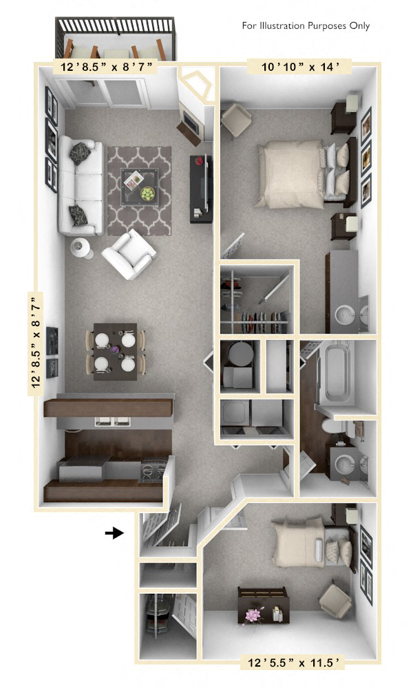 The Clipper - 2 BR 1 BA floor plan, top view