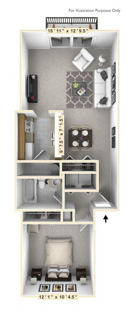 The Lakeshore - 1 BR 1 BA floor plan, top view