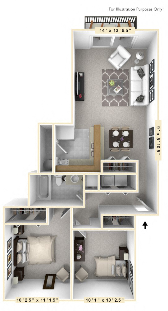 The Nautical - 2 BR 1 BA floor plan, top view