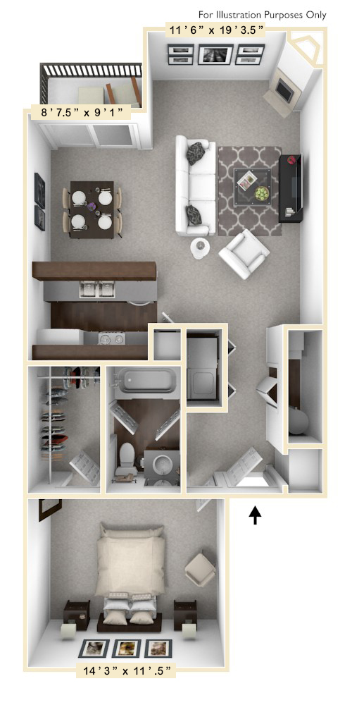 The Schooner - 1 BR 1 BA floor plan, top view