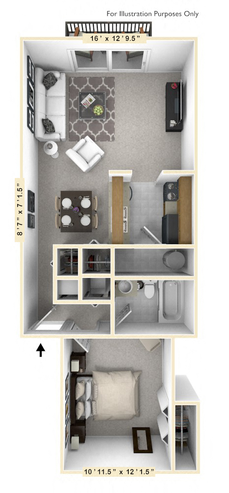 The Starboard - 1 BR 1 BA floor plan, top view