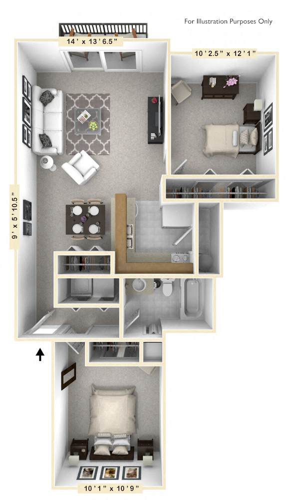 The Surfside - 2 BR 1 BA floor plan, top view