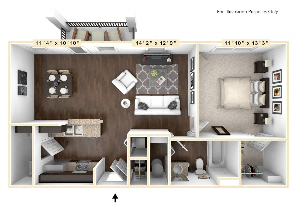 The Tuscany - 1 BR 1 BA floor plan, top view