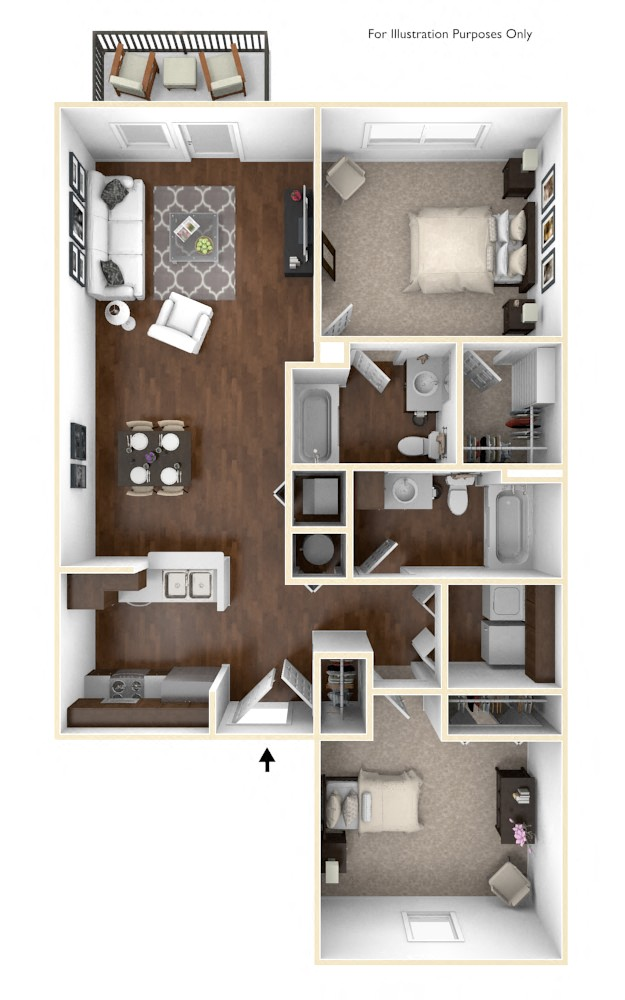 The Peak - 2 BR 2 BA floor plan, top view