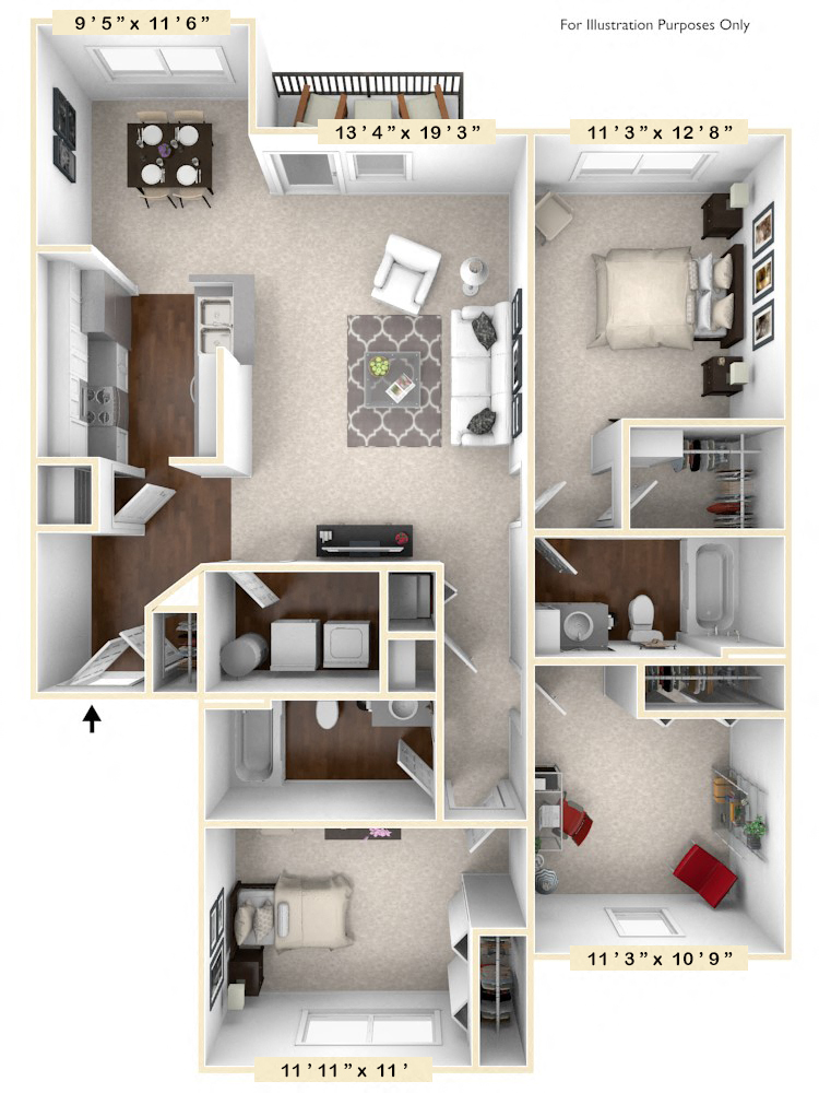 The Waverly - 3 BR 2 BA floor plan, top view