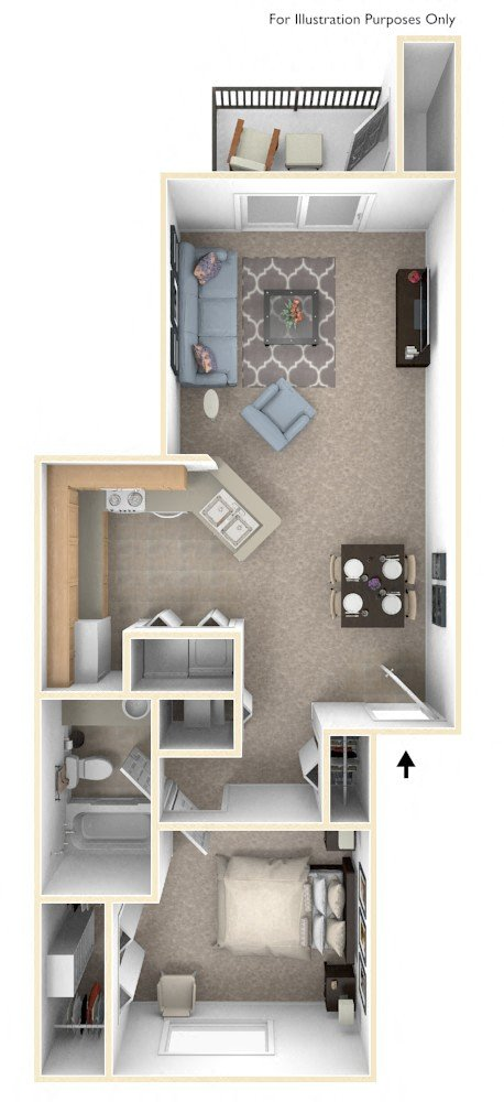 One Bedroom One Bath floor plan, top view