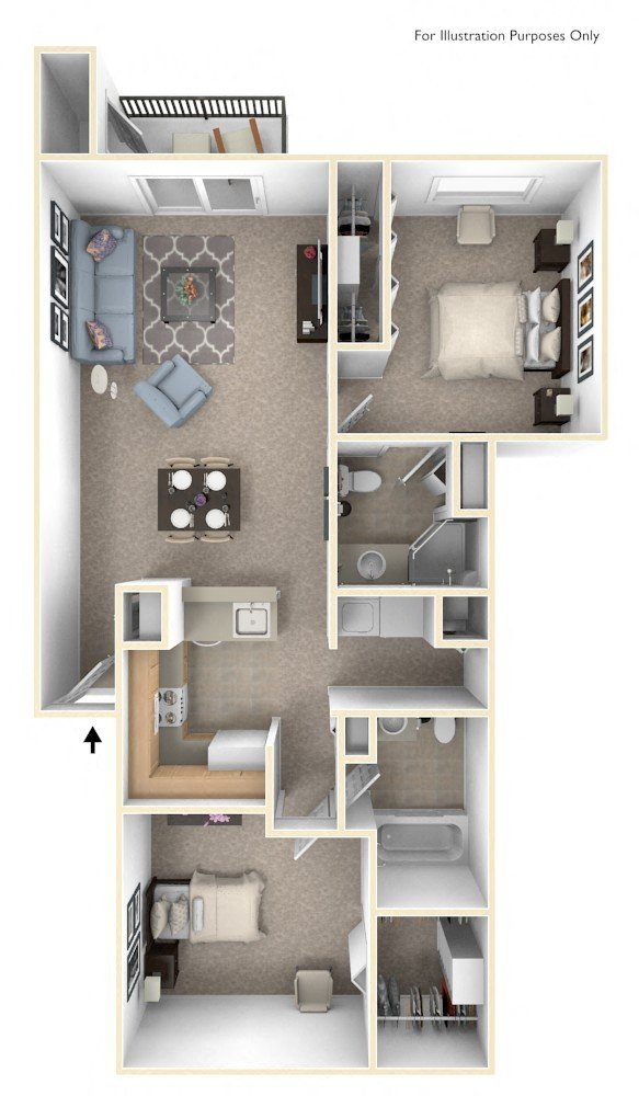 Two Bedroom Two Bath floor plan, top view