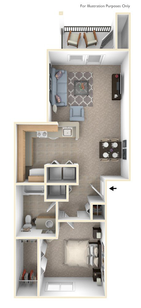 One Bedroom - Bridge floor plan, top view