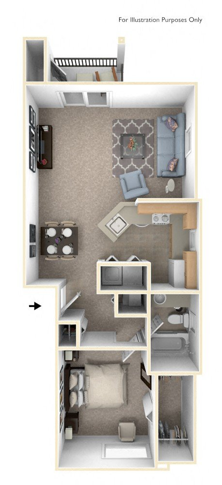 One Bedroom End floor plan, top view