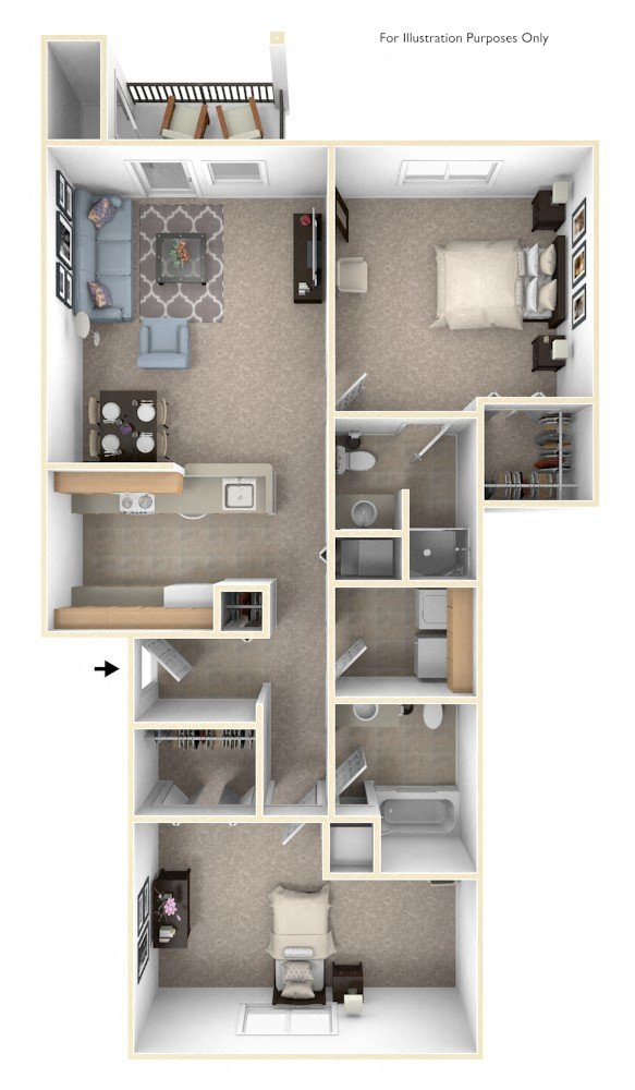 Two Bedroom - 1st Floor floor plan, top view